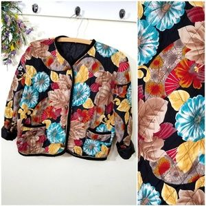 Vintage Boho Quilted Button Up Jacket Asian Print